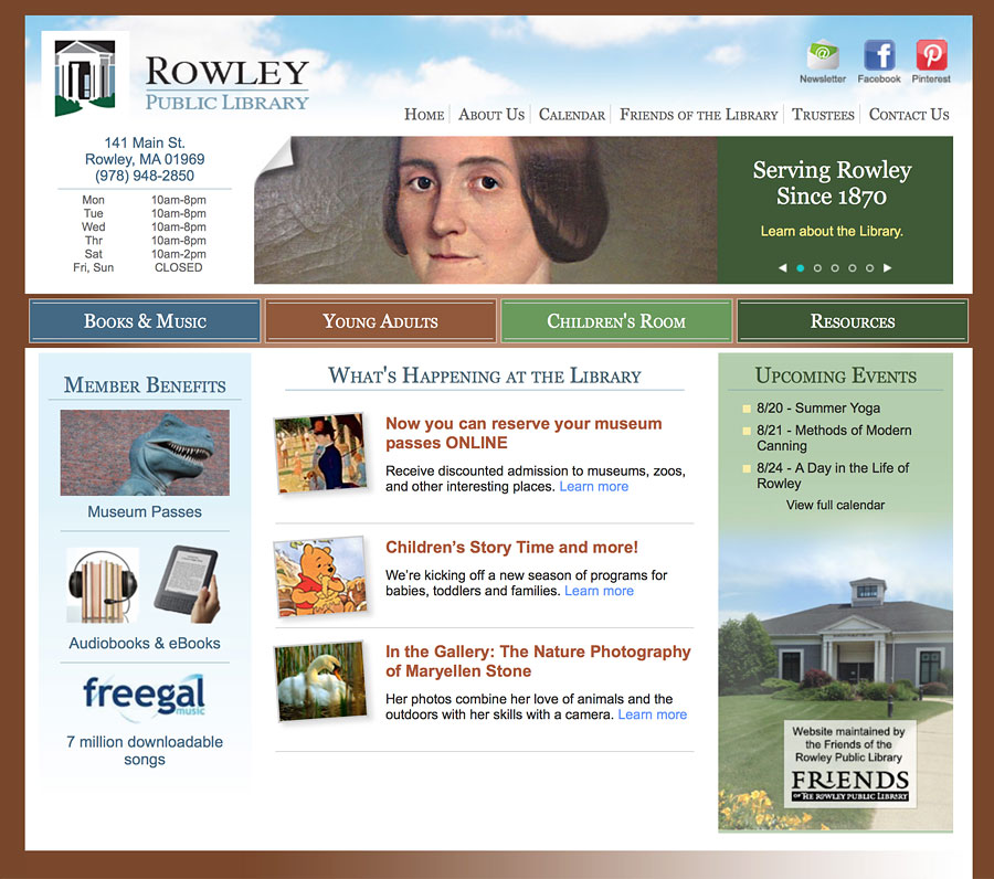 Rowley Public Library website